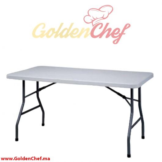 TABLE TRAITEUR EN POLYCARBONNAT PLIABLE RECTANGULAIRE Dim : 152 x 76 x 75 cm