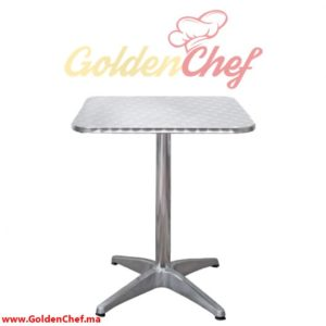 TABLE EN INOX CARRE PIED/4 Dim : 70 x 70 x 74 cm