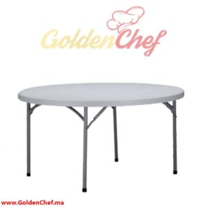 TABLE TRAITEUR EN POLYCARBONNAT PLIABLE RONDE D 180 x 75 cm