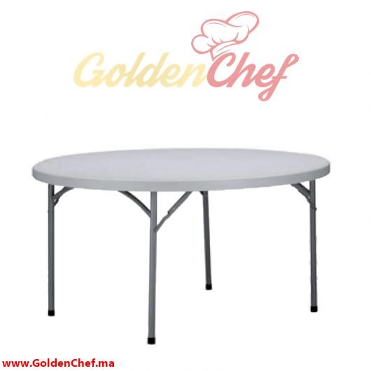 TABLE TRAITEUR EN POLYCARBONNAT PLIABLE RONDE D 180 x 75 cm