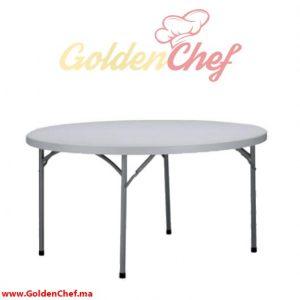 TABLE TRAITEUR EN POLYCARBONNAT PLIABLE RONDE D 150 x 75 cm